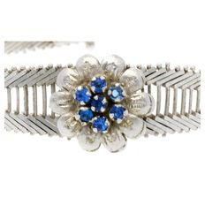 "Silver ""Art Deco"" bracelet set with coloured Crystal."