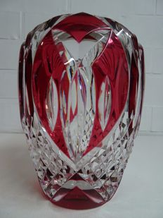 "Val Saint Lambert red crystal vase, Model ""Aberdeen"", Charles Graffart"