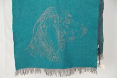 Hermès Paris - Vintage Green Gray Wool Cashmere Dog Scarf