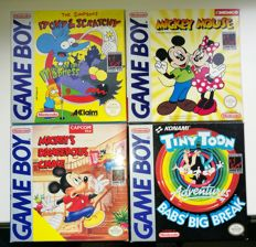 4 game boy games - Tiny Toon + Mickey's Dangerous Case + The Simpsons + Mickey mouse Boxed