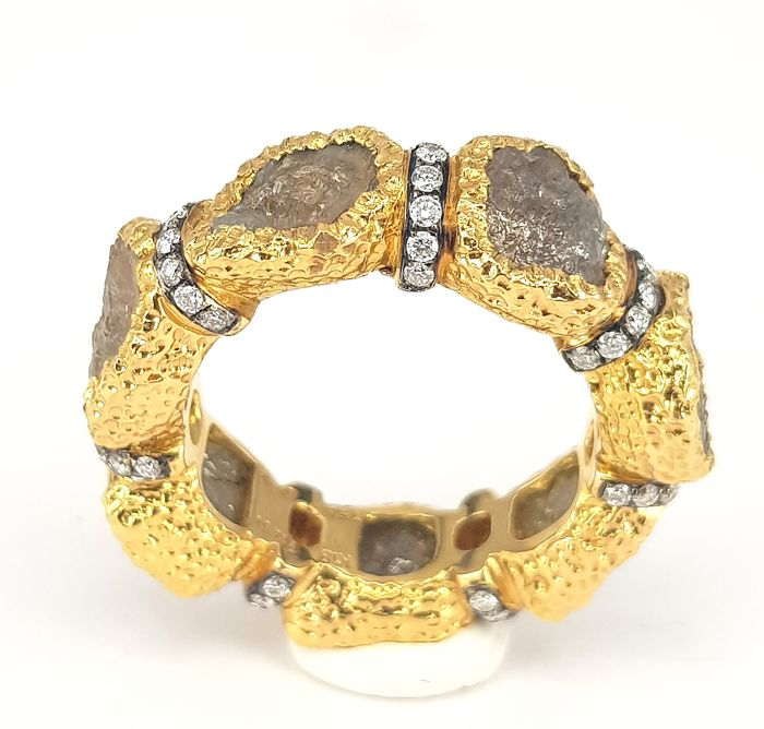Unisex Finger Ring- cum- Thumb Ring in Fancy Rough Diamond (14.51 carats)  and Round White Diamonds (0.54 carats) in 18 kt Yellow Gold-