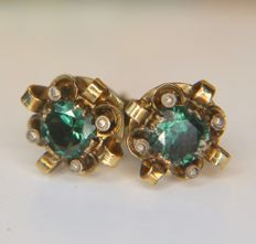 About 1900/1940 Antique 14kt. Yellow gold handcrafted Earrings with dark green Tourmalines approx. 0.25Ct.