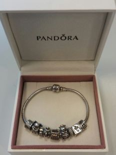 Pandora bracelet with 9 charms - Silver - 925 - Gold - 14 kt - 19.5 cm