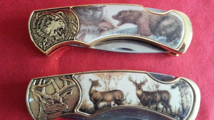 Franklin mint collectors knife, hunting knife 24 krt gold plated, 2 pieces