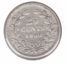 The Netherlands - 25 cents 1849, Willem III - silver