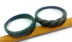 Early medieval 2 bronze Viking twisted rings - 18, 20 mm