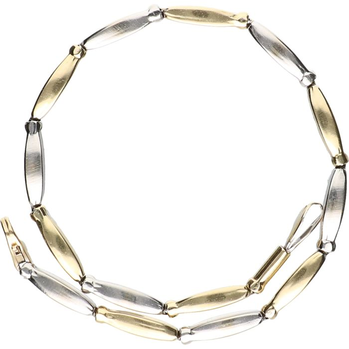 14 kt - Bicolour yellow/white gold link bracelet - length: 19 cm