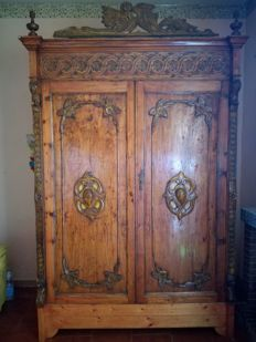 Wooden wardrobe - Umbertino style - early 20th century
