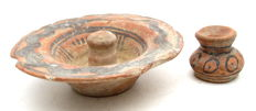 Indus Valley Painted Terracotta lid and jar- 37x31mm (cup) 100x32mm (lid)