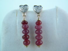 Earrings in 18 kt white gold and yellow gold with 0.03 ct of natural diamonds and 4.70 ct of natural rubies