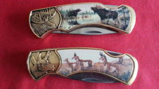 Franklin mint collectors knife, hunting knife 24 ct gold-plated, 2 pieces