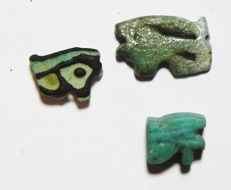 Egyptian lot of 3 faience Eye of Horus amulets - Largest 12 mm (3x)