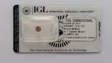0.41ct    Diamonds Round cut   Fancy Golden Brown si1  IGL Lab   -NO RESERVE