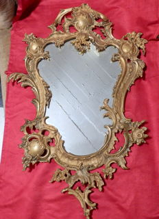 Venetian Gilt Painted Bronze Bevelled Mirror, Italia, ca. 1960's