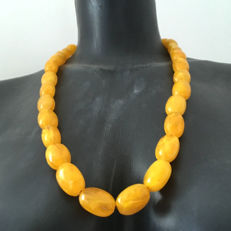 Baltic Amber vintage necklace, olive shaped perfect egg yolk beads, 75.6