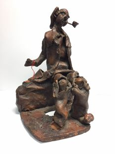 "Janet Sobel (1894 - 1968) ""Poor old Man with Pipe"" - terra cotta, burnt, glazed"