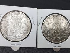Belgium - 5 francs 1850 and 1876 Leopold I and Leopold II - silver