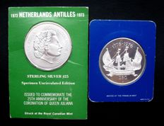 Netherlands Antilles - 25 guilders 1973 and 1976 (2 different) - large size, silver