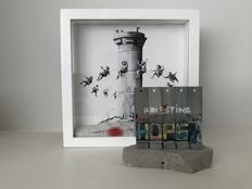 Banksy Walled Off Hotel Print Box Set & Souvenir Wall Section Sculpture