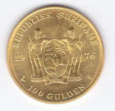 Suriname - 100 gulden 1976 (1 Year Independence) - Yellow gold