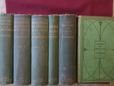 Charles Darwin - Lot with 6 books about: Natural selection, origin of mankind, domestication of animals & plants - 1904/1911