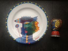 Clemens Briels plate and bottle cork signed