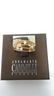 Annamaria Cammilli - 18 kt rose gold ring with brilliant cut diamonds G/IF 0.27 ct Size 15/55 - Width of the upper half:  1 cm