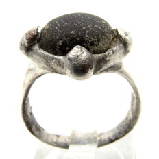 Saxon Era Silver Ring with Dark Red Stone - WEARABLE GIFT WITH GIFT BOX - 17mm (inner Diameter)