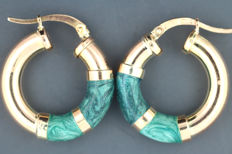 Enamelled earring hoops 585 / 14kt gold
