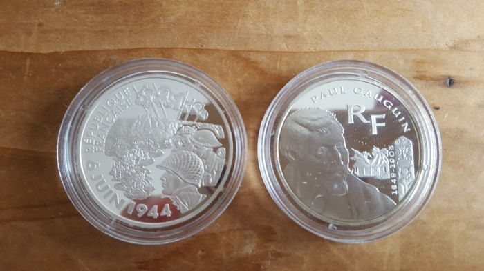 France - 1½ Euro 2003 and 2004 'Paul Gauguin & D-Day' - silver