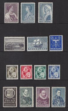 The Netherlands 1933/1934 - six issues - NVPH 252/255, 256, 265/266, 267/268, 269 and 270/273