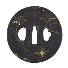 Iron tsuba - Brass inlay, stamp seal -  Japan - 18th/19th century