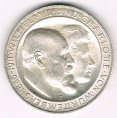German Empire, Württemberg - 3 Mark 1911 F Silver Wedding - silver