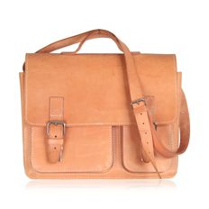 Vintage Beige Tan Leather Messenger / Satchel Bag