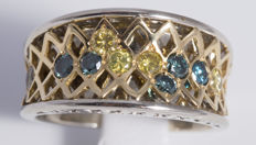 800 Platinum with 18 kt yellow gold handmade ring with 10 yellow and blue diamonds 0.82 ct - ring size 18.5 mm