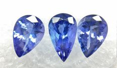 Triple of 3 Tanzanite Blue, Violetish Blue 4.29 ct   -No Reserve