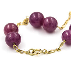 Yellow gold, 750/1000 (18 kt)  - Bracelet - Rubies - Length: 20.00 cm (approx.)