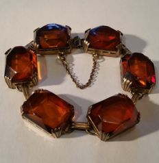 Art Deco amber bracelet, silver 830 gold plated - 1940s from Germany, 24.73 grams.
