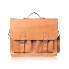 Vintage Beige Tan Leather Messenger / Satchel Bag / Backbpack