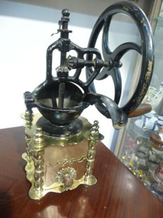 Beautiful cast iron and brass coffee grinder France around 1900