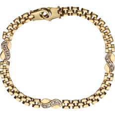 14 kt Yellow gold Rolex link bracelet with tooled intermediate pieces set with zirconia. - length x width: 17 x 0.5 cm