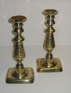 A pair of Victorian brass candlesticks ca. 1850