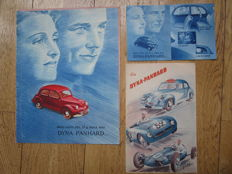 PANHARD DYNA junior sedan and van 1949 lot of 3 brochures