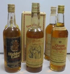 6 bottles - The famous grouse, Queen Elizabeth, Old Fettercairn, Highland Laird, Ye Monks', Angus Mc Kay.