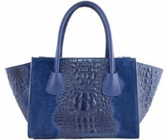 Borse in Pelle, leather blue croco shoulder bag