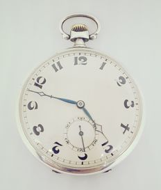 Cyma slim silver pocket watch