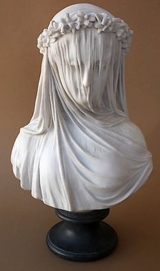"Carrara marble bust of ""donna vedova con velo"" from Italy late 20th century"