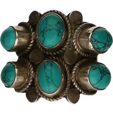 925/1000 Silver ring set with turquoise. - Ring size: 17.25 mm