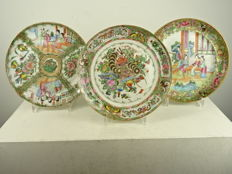 Three Cantonese plates - China - 19th century