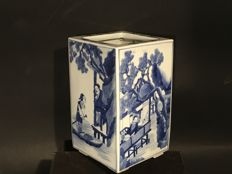 "A blue and white brush jar (""Bitong"") - China, second half 20th century"